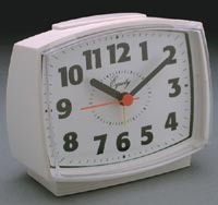 analog old vintage white alarm clock
